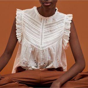 Zara Embroidered Cotton Blouse w/ Perforation XS